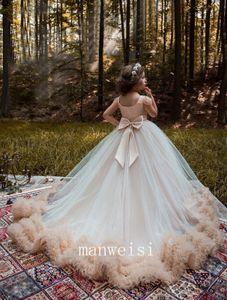 Nouvelle Menthe Vert Fleur Filles Robes Pour Mariages Papillon Dentelle Appliques Perlé Longueur De Plancher D'anniversaire Enfants Enfant Fille Pageant Robes