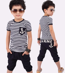 Детский костюм лето 2018 мальчиков с коротким рукавом новые короткие рукава / детская корейская версия спортивный костюм мальчик костюм