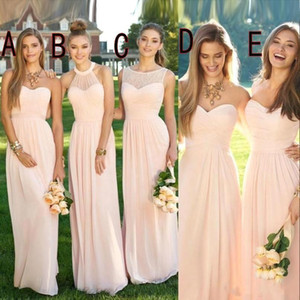 2020 Pink Navy Long Bridesmaid Dresses Mixed Flow Chiffon Summer Blush Bridesmaid Formal Prom Party Dresses with Ruffles Country CPS490