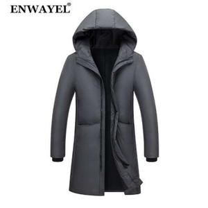 ENWAYEL осень зима теплая утка вниз куртка мужчины Куртки пальто с капюшоном X-длинный мужской пуховик корейский повседневная верхняя одежда EW130