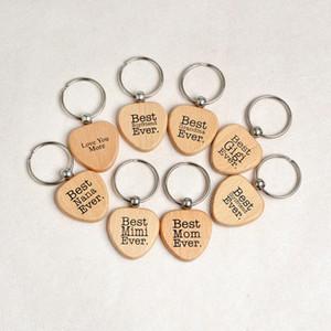 Herzform Wood Keychain Brief Liebe Sie Beste Mama Best Nana Oma Freund Mimi jemals Keychain Schlüssel Ringe Holz Schlüsselring Schlüsselanhänger 8 Stil