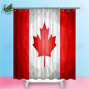 Vixm Canadian Flag Abstract Polygonal Background Illustration Tenda da doccia Tende in tessuto di poliestere per la decorazione domestica