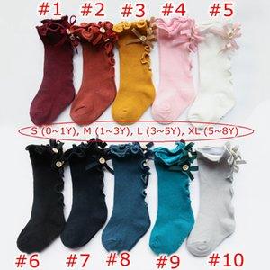 10 цветов дети принцесса фондовой девушки бабочка струнные кромки новорожденных девочек хлопок акции лук вязать колено высокие носки Детская одежда 0-8Y
