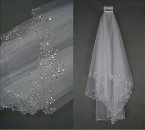 Charming White Ivory Bridal Veil Two Layer Soft Tulle Wedding Accessories Wedding Veils With Crystal Comb