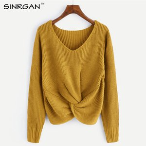 SINRGAN de manga larga con cuello en v suéter camiseta Sweet Borgoña Mujeres Pullovers Jumper de punto Casual Solid Sweater pull femenino