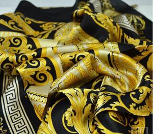 Estilo famosa 100% bufandas de seda de la mujer y de los hombres Negro de cuello del color sólido de la impresión del oro suave Moda Mantón de seda las mujeres bufanda cuadrada