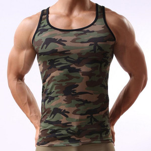 Livraison gratuite Camouflage Imprimé Léopard Mens Bodybuilding Débardeur Hommes Gilet Compression Sans Manches Chemise Collants Hommes Singulets Exercice Tops