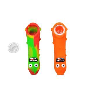 Nueva desgin Cucumber Shape Silicone Smoking Pipe Tabaco Hand Spoon Pipes Heat Dab Oil Rig con Glass Bowl Multi Classic Colors