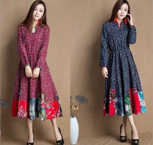 Retro langes elegantes Kleid China nationalen Stil traditionelle chinesische Vintage Dame Ethnic Dress verbesserte Baumwolle Leinen Kleidung