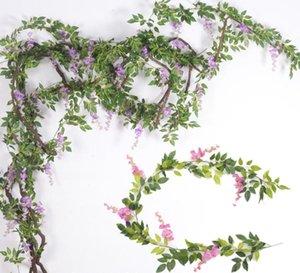 Seta Wisteria vite del fiore artificiale Wisteria Canne d'India Fiore con foglie verdi per la fotografia di matrimonio di Natale a casa fiori decorativi