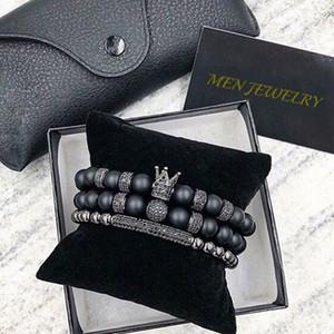 Norooni 2018 2 pezzi / set Uxury Fashion Crown Charm Bracciale in pietra naturale per le donne e gli uomini Pulseras Masculina regali regalo