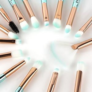 Professional 15PCS set Mermaid Makeup Brushes Set Foundation Blending Powder Eyeshadow Contour Concealer Blush Cosmetic Makeup Tool
