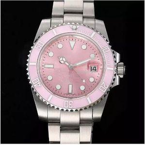 Top qualidade 116610LN Rosa Dial cerâmica moldura de aço inoxidável Sapphire Vidro Espelho mecânico automático Wonen Wonens Relógios do relógio