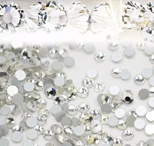 1440pcs lot Nail Art Glitter Rhinestones White Crystal Clear Flatback DIY Tips Sticker Beads Nail Jewelry Accessory FREE SHIPPING