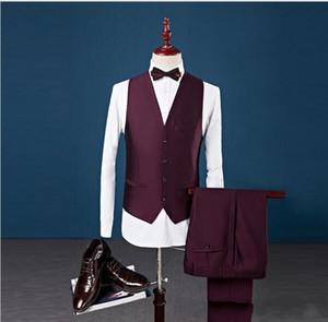 3 Pezzi Custom Made Abiti da sposa Slim Fit Smoking dello sposo Formale indossa scialle Risvolto abiti Groomsman (giacca + pantaloni + gilet)