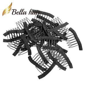 Pelucas para pelucas Bella Hair® Professional 32 pcs para pelucas para hacer peluca clips de color negro para pelucas fijas Julienchina