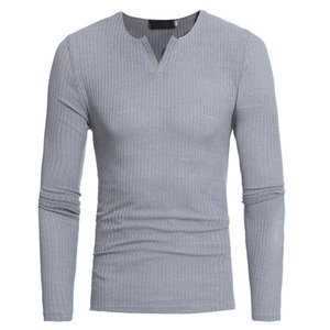 Yeni Sonbahar Kore erkek T-shirt moda rahat ince V Boyun uzun kollu T-Shirt Seksi Stil erkek giyim S-XXL Ücretsiz Kargo