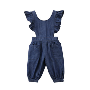 Fashion Summer Cute Kids Baby Girls Denim Casual One Piece Loose Overalls Cross Band Jumpsuit Romper Outfits Set