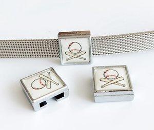 10 pcs 8 MM De Plástico De Beisebol De Plástico Impressão Encantos Encantos Beads DIY Acessórios Fit 8mm Cintos de Colarinho Pulseiras