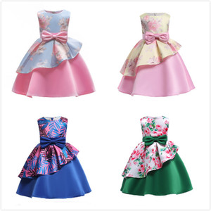 Neue Mädchenkleider Süße Unregelmäßige Stempel Druck Doppelschicht Sleeveless Floral A-line Kinder Kleid s Große Mädchen Prinzessin Kleid 2-12 T Elegant
