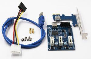 PCI 1-3 placa de expansão PCI Riser Card Adapter 1x Interface 3-Port PCIE slot