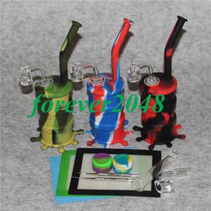 Silicon Hookah Oil Drum Rigs Mini Silicone Rigs Bong Pipa ad acqua con 14mm giunto al quarzo chiodo silicone silicon mat cera contenitore strumento dabber