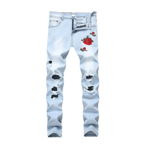 ABOORUN Fashion Mens Slim Ripped Jeans Rose Embroidery Broken Hole Pencil Jeans Men Streerwear Clothes x443