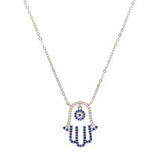 2018 повезло турецкий стерлингового серебра 925 мотаться сглаза очарование проложить синий белый cz Хамса Рука Фатимы кулон ожерелье