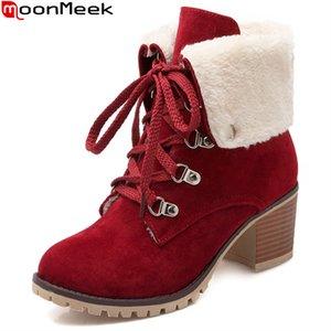 MoonMeek осень зима Новый прибытие женщины сапоги черный красный бежевый дамы сапоги зашнуровать квадратный каблук стадо лодыжки большой размер 33-43
