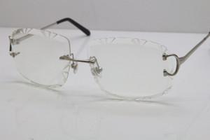 Envío gratis Nuevos Hombres Rimless T8200762 Eyeaglass Unisex Glasses Silver Gold Metal Mark Eyewear Lunettes Conducción Gafas C Decoración Oro
