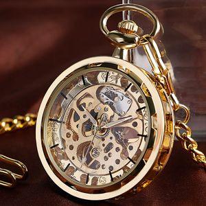 Antique Mechanical Pocket Watch  Retro Stylish Golden Pendant Transparent Skeleton Steampunk Men Women Watches Gifts