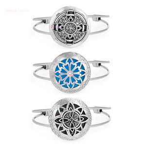 Wholesale- 1pcs Round Antique Vintage  Charm Lockets Bracelets Perfume Essential Oil Diffuser Bangles Bracelet