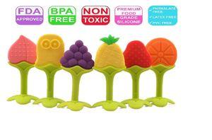 Juguete de dentición de silicona no tóxico, látex y ftalato de teether de fruta de bebé