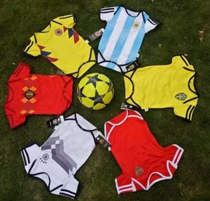 Neue Baby-Trikots der Fußball-Weltmeisterschaft-2018 der Baumwolle Baumwolle Sleeved Overall-Baby-Dreieck-Aufstiegs-Kleidung