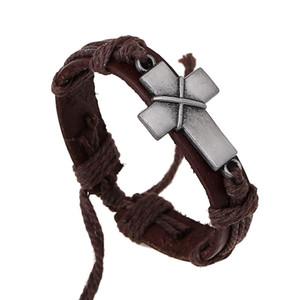 Vintage Erkek Çapraz Deri Halat Bağlantı Bilezik Retro Hıristiyan Dini Namaz Wrap Bilezik Bilezik Boyutu Ayarlanabilir