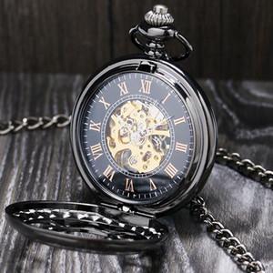 Lucury Steampunk Mecânica Pocket Watch Prata / Preto Oco Flor de Aço Mão Vento Homens Mulheres Pingente Fob Cadeia Presentes de Aniversário