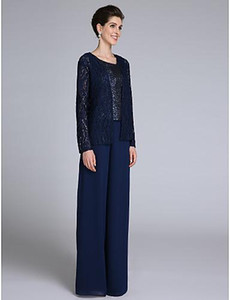 2019 плюс размерные брюки костюмы три штуки для материнского платья оболочки шеи полов длиной до пола шифон кружевная мать невесты платья с блестками