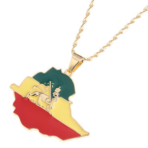 Emaille Karte von äthiopischer Löwe Anhänger Halskette Afrika Gold Kette Halskette Karte Schmuck