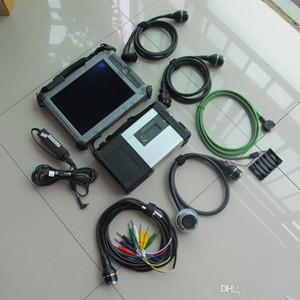 MB ستار C5 SD ربط أداة تشخيصية مع SSD + كمبيوتر محمول IX 104 I7 وحدة المعالجة المركزية المستعملة مجموعة كاملة لاستخدام السيارات والشاحنات الماسح الضوئي