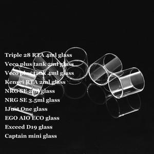 Üçlü 28 RTA Veco Artı Tankı Kensei RTA NRG SE IJust Bir EGO AIO ECO D19 Aşan Kaptan Mini Pyrex Yedek Cam Tüp Vape DHL