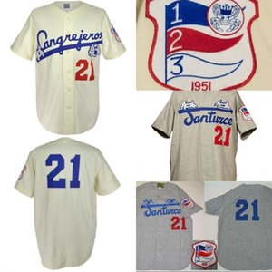 Santurce Cangrejeros 1954 Accueil Jersey 100% Cousu Broderie Vintage Baseball Jersey personnalisés tout nom Pas de préférence Nombre Livraison gratuite