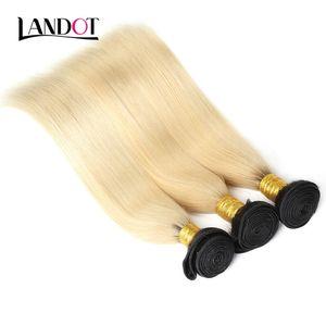 Koyu Kökleri Ombre 1B / 613 Sarışın Saç Brezilyalı Virgin İnsan Saç Dokuma 3/4 Demetleri 10A Perulu Hint Malezya Düz Remy Saç Boyayabilir