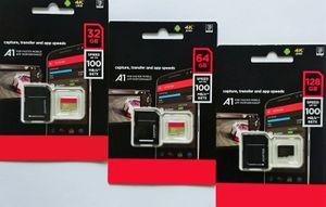블랙 안드로이드 90MB / S 32GB 64GB 128GB 256GB C10 TF 플래시 메모리 카드 클래스 10 무료 SD 어댑터 소매 블리스 터 패키지 DHL Shipping Dropship