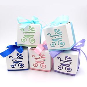30Pcs / lot Piazza Laser Cut Baby Carriage Biscotti Scatole regalo Bomboniera Baby Shower Candy Treat Bag Decorazione del partito