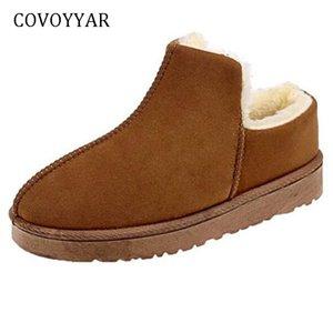 COVOYYAR 2018 Warm Snow Boots Flat Platform Women Boots Winter Shoes women Fur Soft Bottom Ankle Booties WBS1052