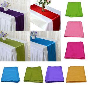 275 cm * 30 cm 25 Colori di Colore Solido Tovaglia di Raso Tavolo Runners FAI DA TE Handmade Sedia Sash Bow Cove Decorazione di Cerimonia Nuziale Feste 6Z