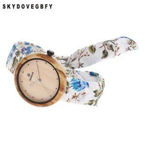 SKYDOVEGBFY Donne in legno di bambù orologi di tela donne orologi in legno legno 2018