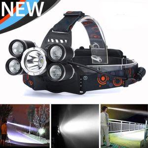 5000LM 5 LED XML T6 Faros delanteros Zoomable Faros de alta potencia 4 Modo lámpara de caza Lámpara de cabeza recargable Linterna Coche
