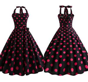 1940 년대 빈티지 레드와 블랙 폴카 도트 여름 민소매 캐주얼 드레스 크루 넥 무릎 길이 로커 빌리 여성 파티 드레스 FS3847