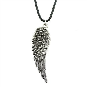 WYSIWYG 5 Pieces Leather Chain Necklaces Pendants Choker Collar Pendant Necklace Women Big Wing 66x20mm N6-B12882